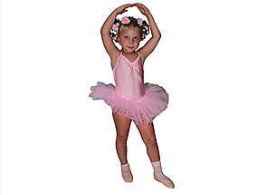 An image of a little girl wearing her ballet outfit while posing