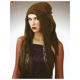 Picture of Long brown wig with brown bandana